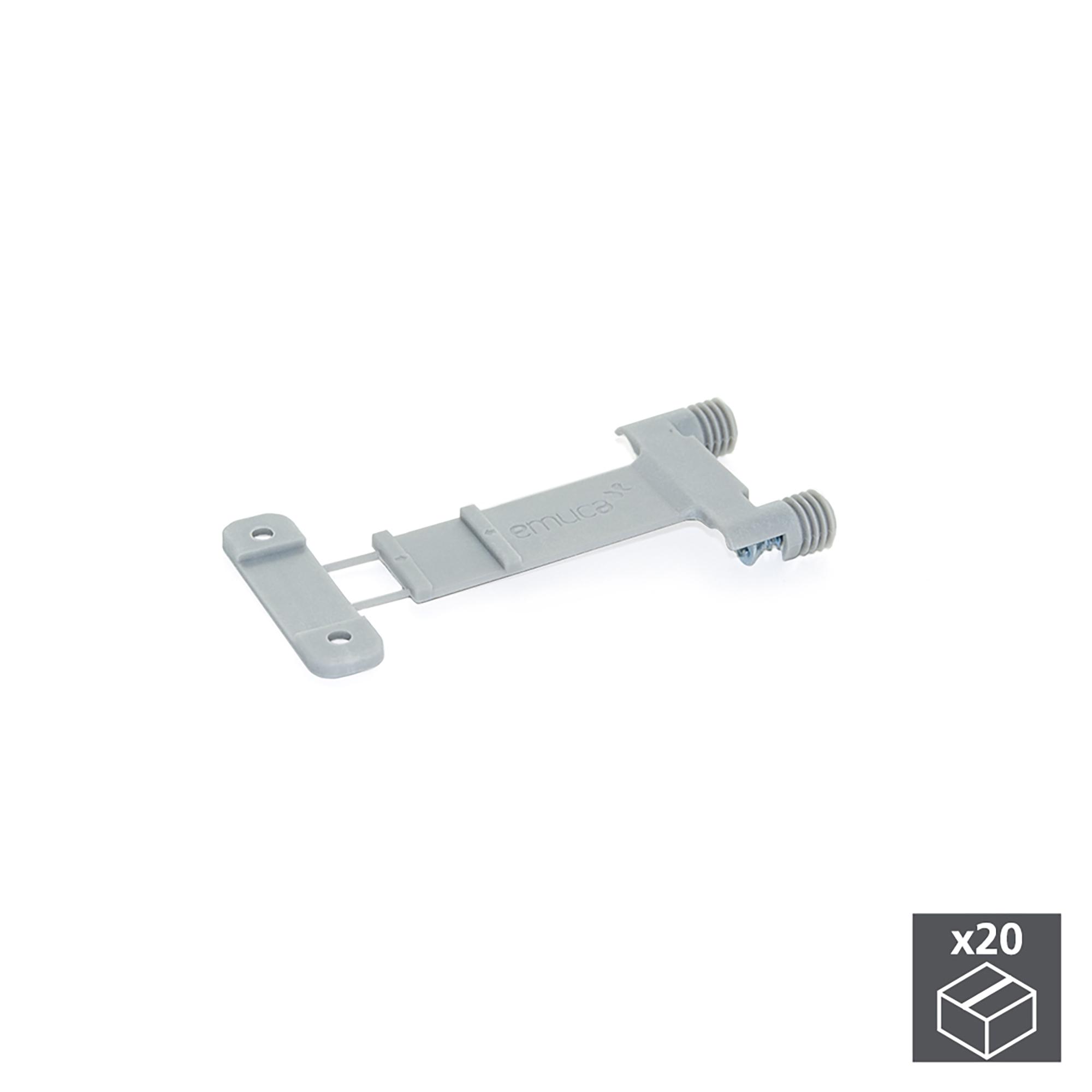 Emuca Meccanismo Lokbox per fissare il fondo del cassetto, Plastica, Grigio, 20 u.