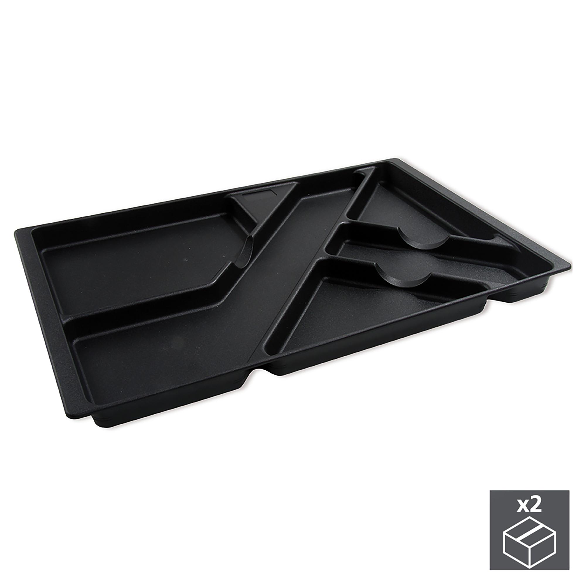 Emuca Vassoio portapenne per cassetti, Plastica, Nero, 2 un.