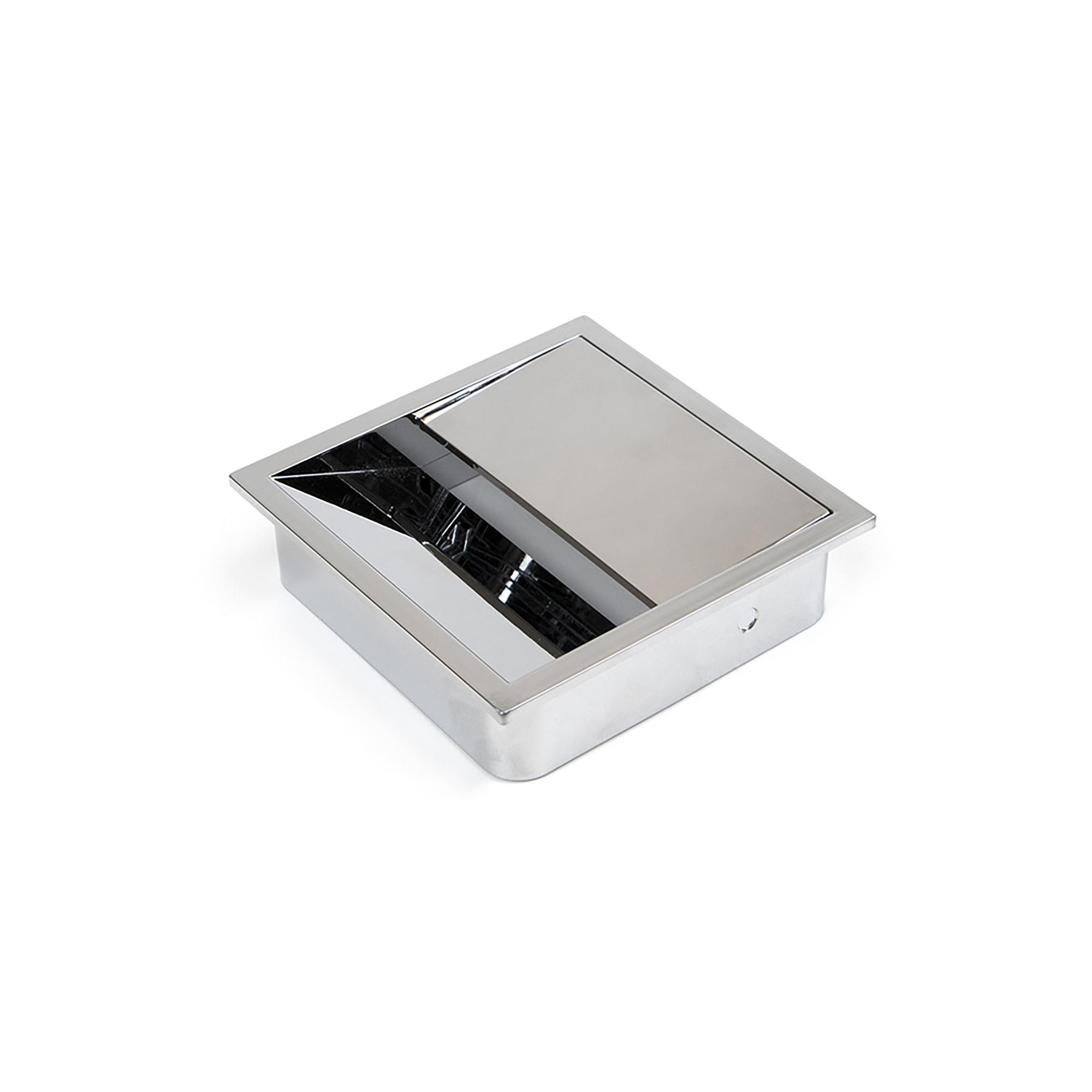 Emuca Passacavi da tavolo, quadrato, 85 x 85 mm, da incasso, Plastica, Cromato