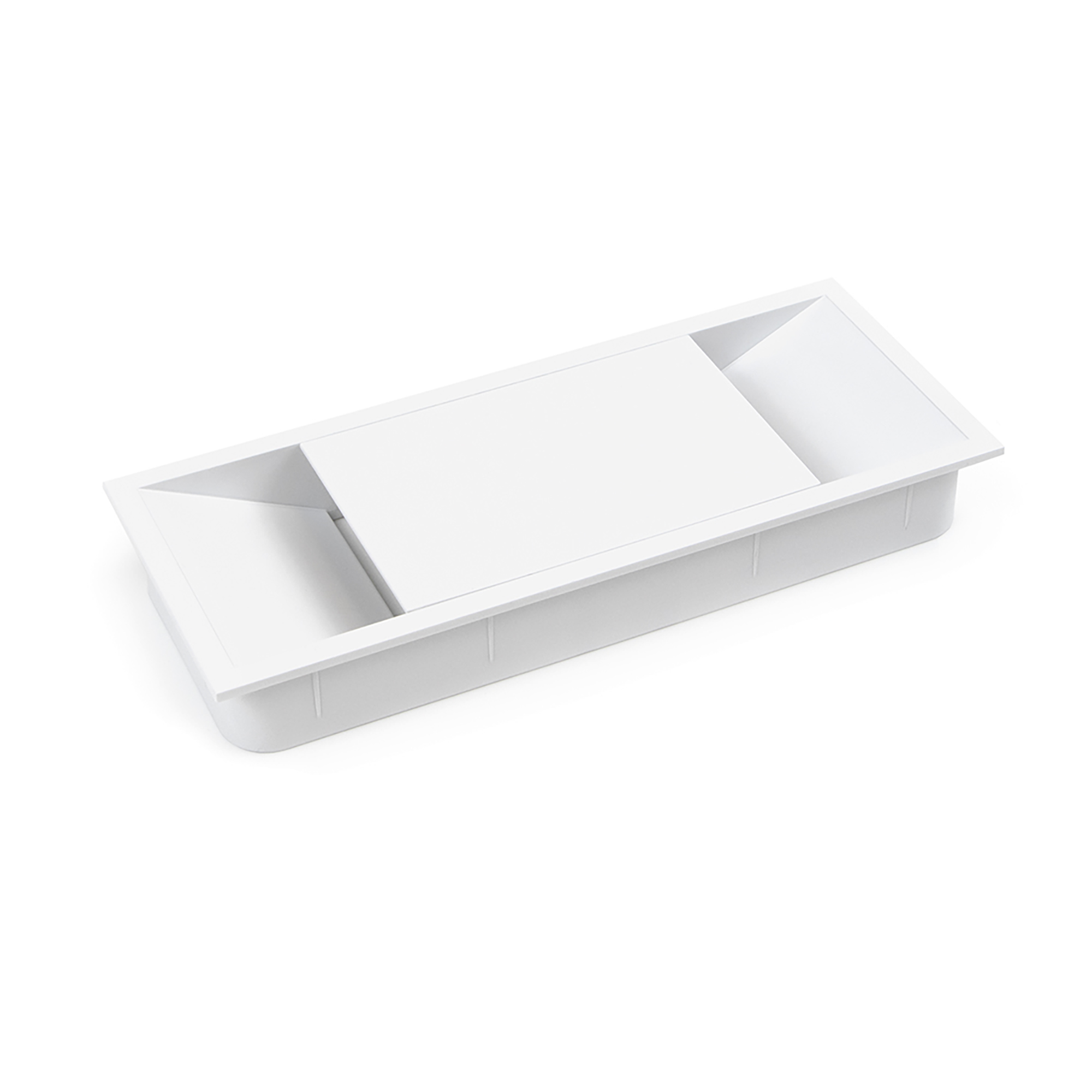 Emuca Passacavi da tavolo, rettangolare, 152 x 61 mm, da incasso, Plastica, Bianco