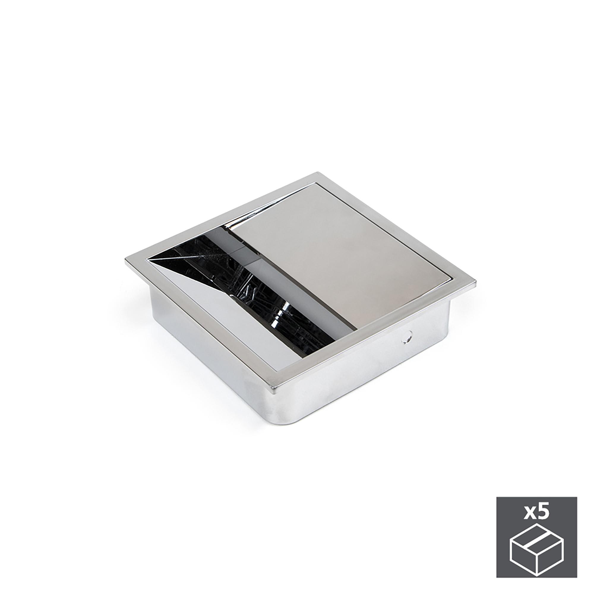 Emuca Passacavi da tavolo, quadrato, 85 x 85 mm, da incasso, Plastica, Cromato, 5 u.