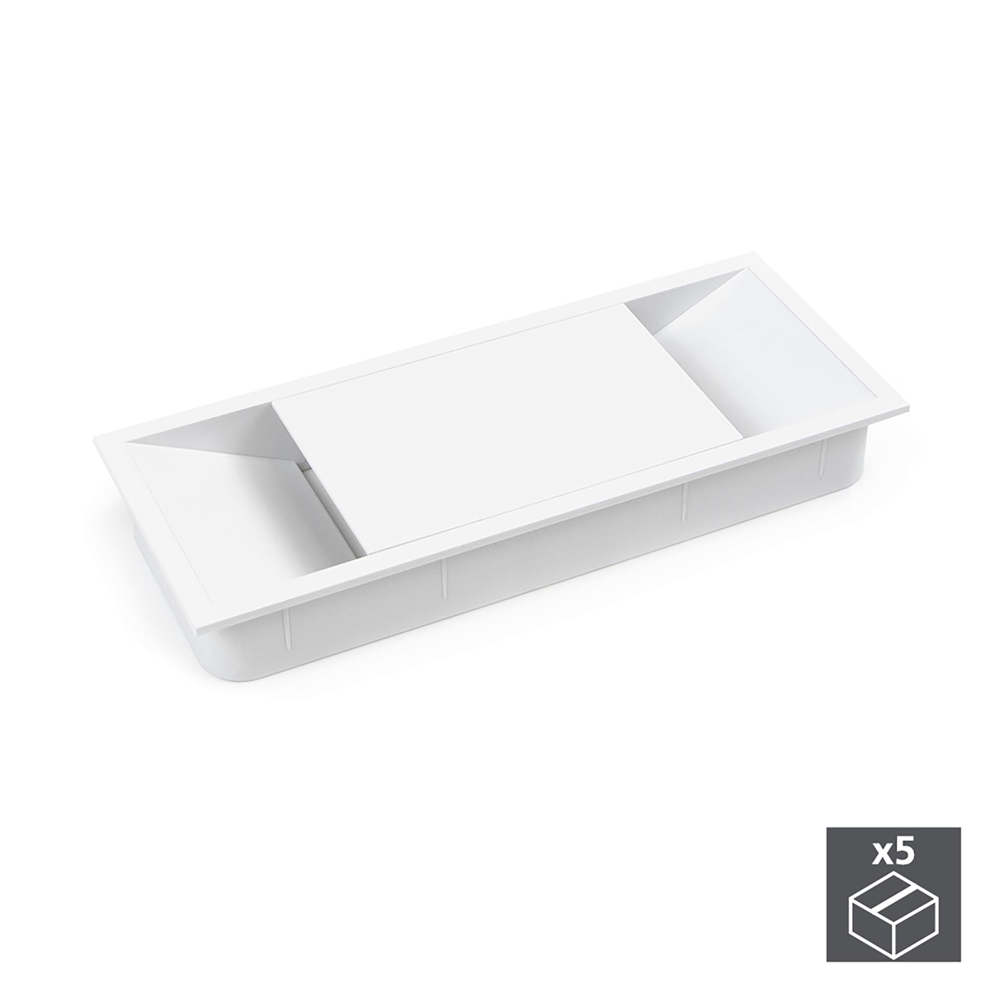 Emuca Passacavi da tavolo, rettangolare, 152 x 61 mm, da incasso, Plastica, Bianco, 5 u.
