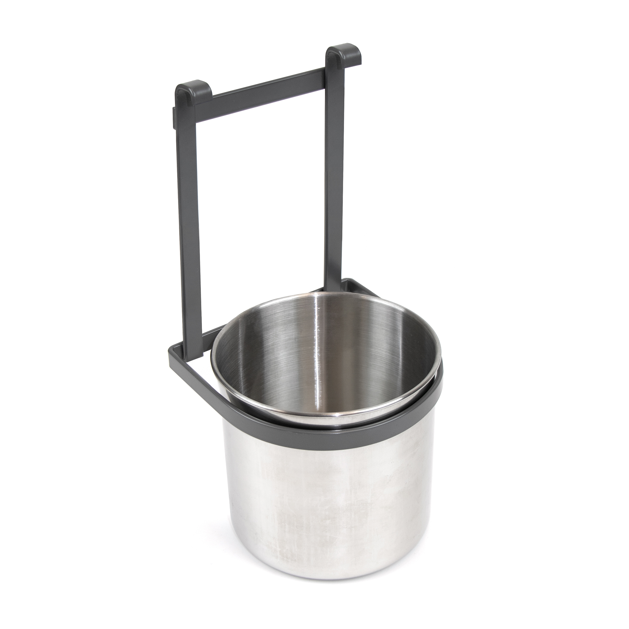 Emuca Portaposate per cucina, con secchio cromato, da appendere, acciaio, grigio antracite.