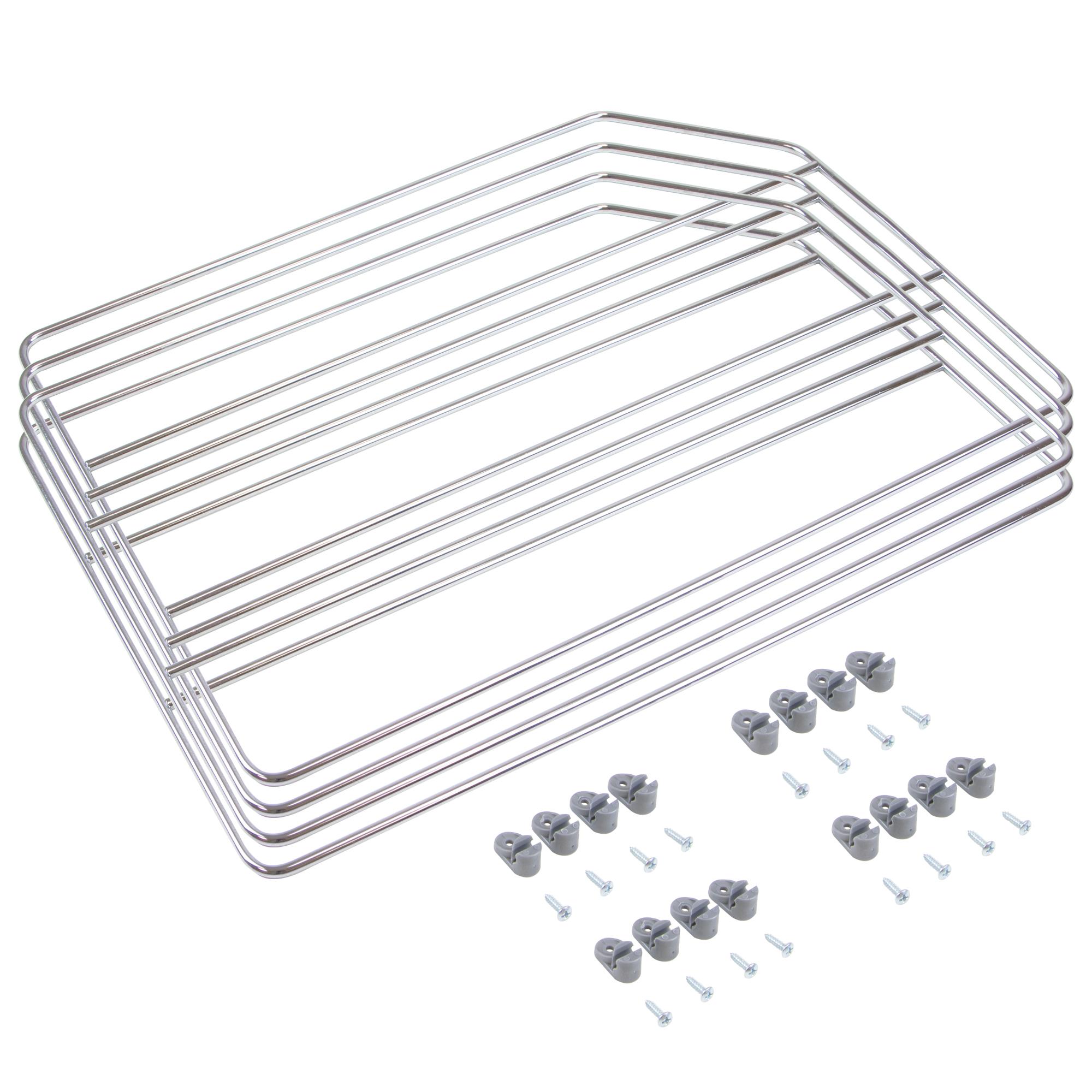 Emuca Kit di separatori per armadi ei pensili della cucina, 4 unità, acciaio cromato.