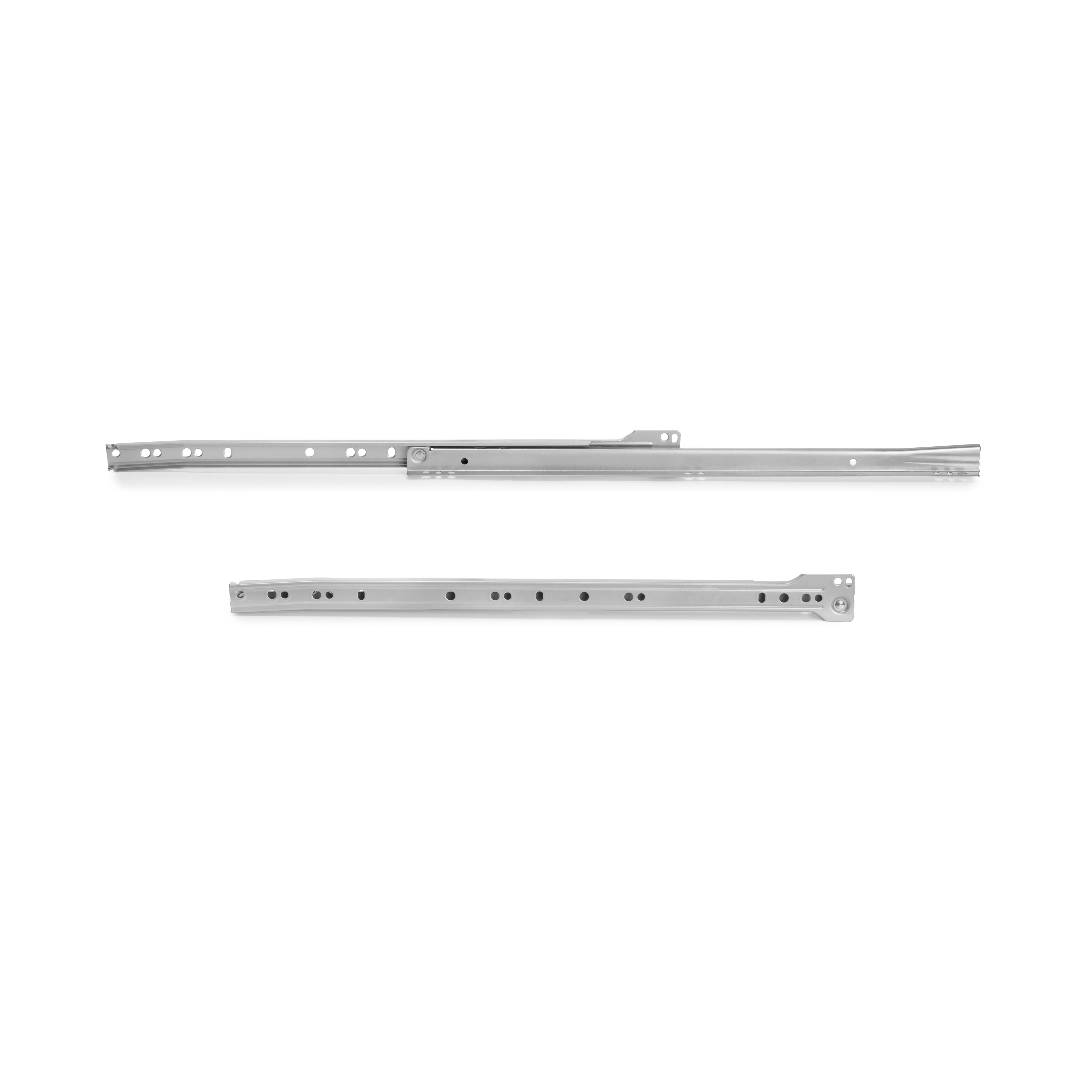 Emuca Kit Guide a rotelle per cassetti, 600 mm, chiusura a caduta, estrazione parziale, Grigio metallizzato