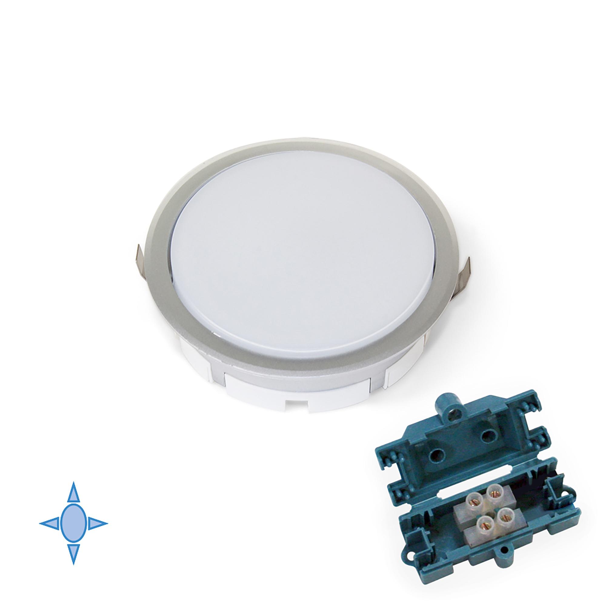 Emuca Faretto LED, D. 85 mm, ad incasso, Luce bianca fredda, Plastica, Grigio metallizzato