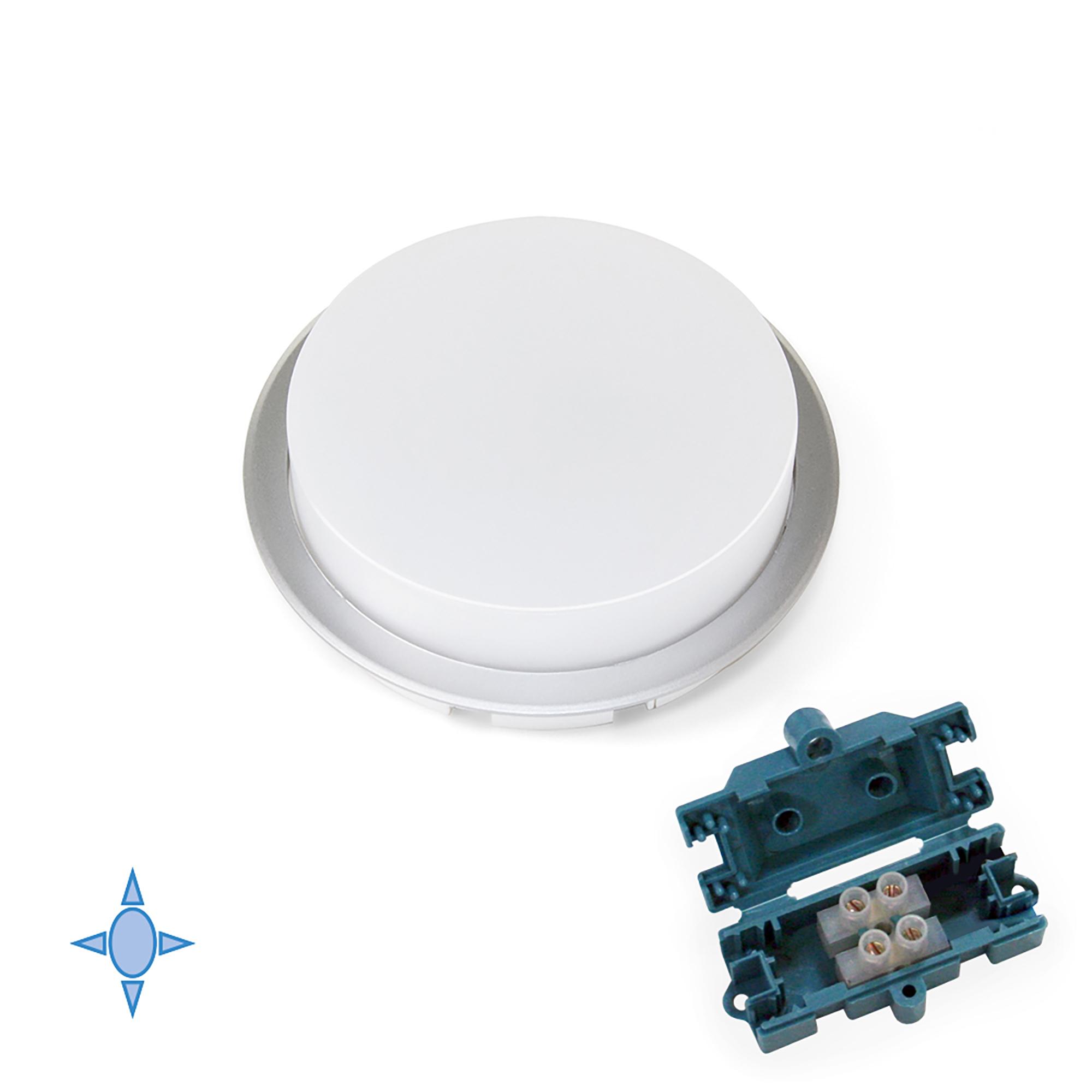 Emuca Faretto LED, D. 85 mm, a semincasso, Luce bianca fredda, Plastica, Grigio metallizzato