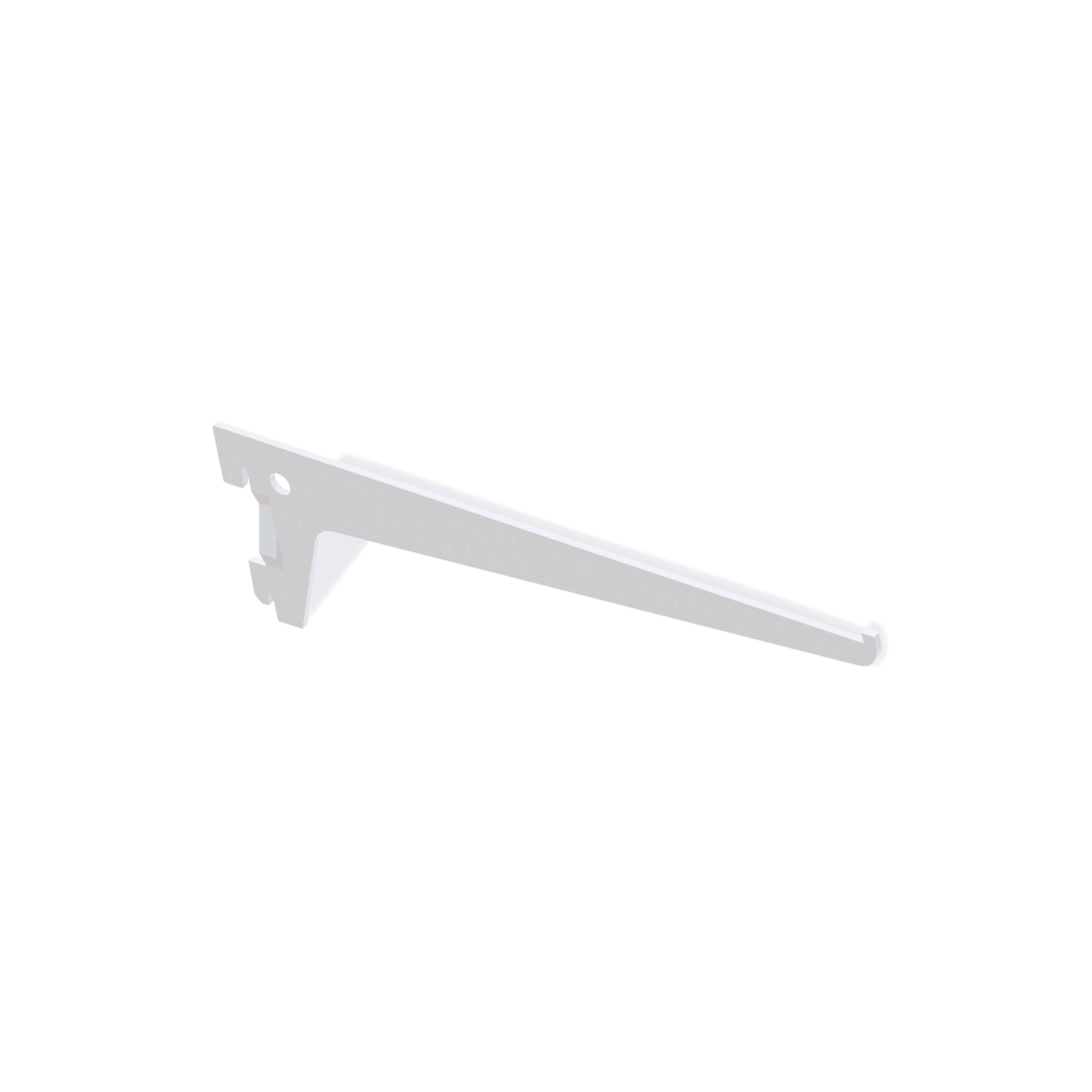 Emuca Supporto per ripiano di legno/vetro, profilo a passo 50 mm, 300 mm, Acciaio, Bianco