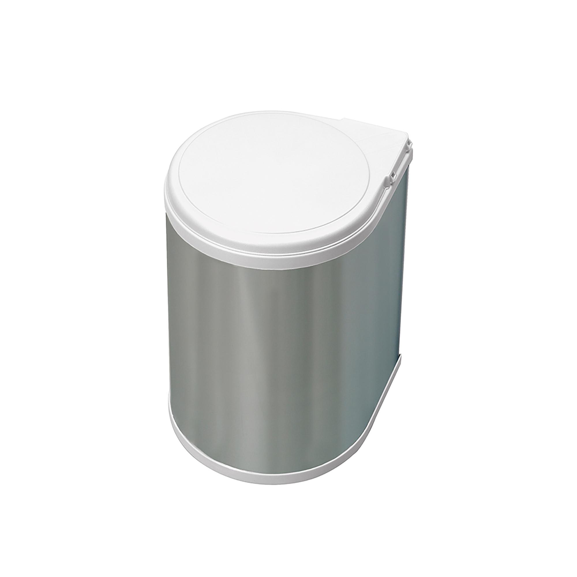 Emuca Pattumiera per differenziata, 13L, fissaggio all'anta, apertura automatica, Plastica, rivestimento di acciaio inossidabile