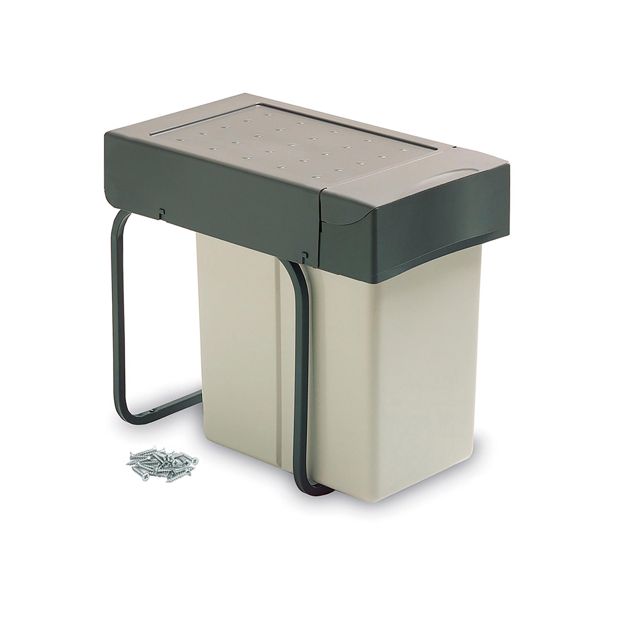 Emuca Pattumiera per raccolta differenziata, 20 L, fissaggio inferiore, coperchio a chiusura automatica, Plastica, Grigio