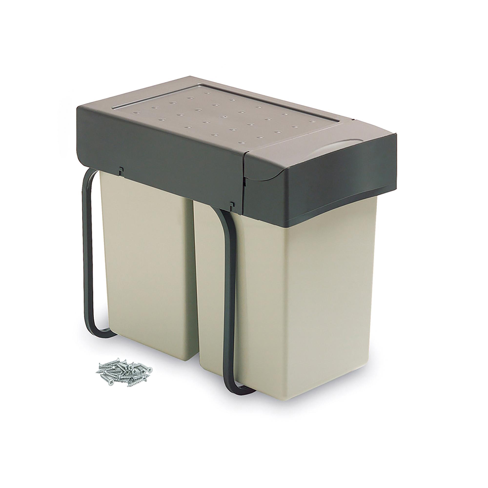 Emuca Pattumiera per raccolta differenziata, 2 contenitori da 14 L, fissaggio inferiore, coperchio chiusura automatica, Plastica