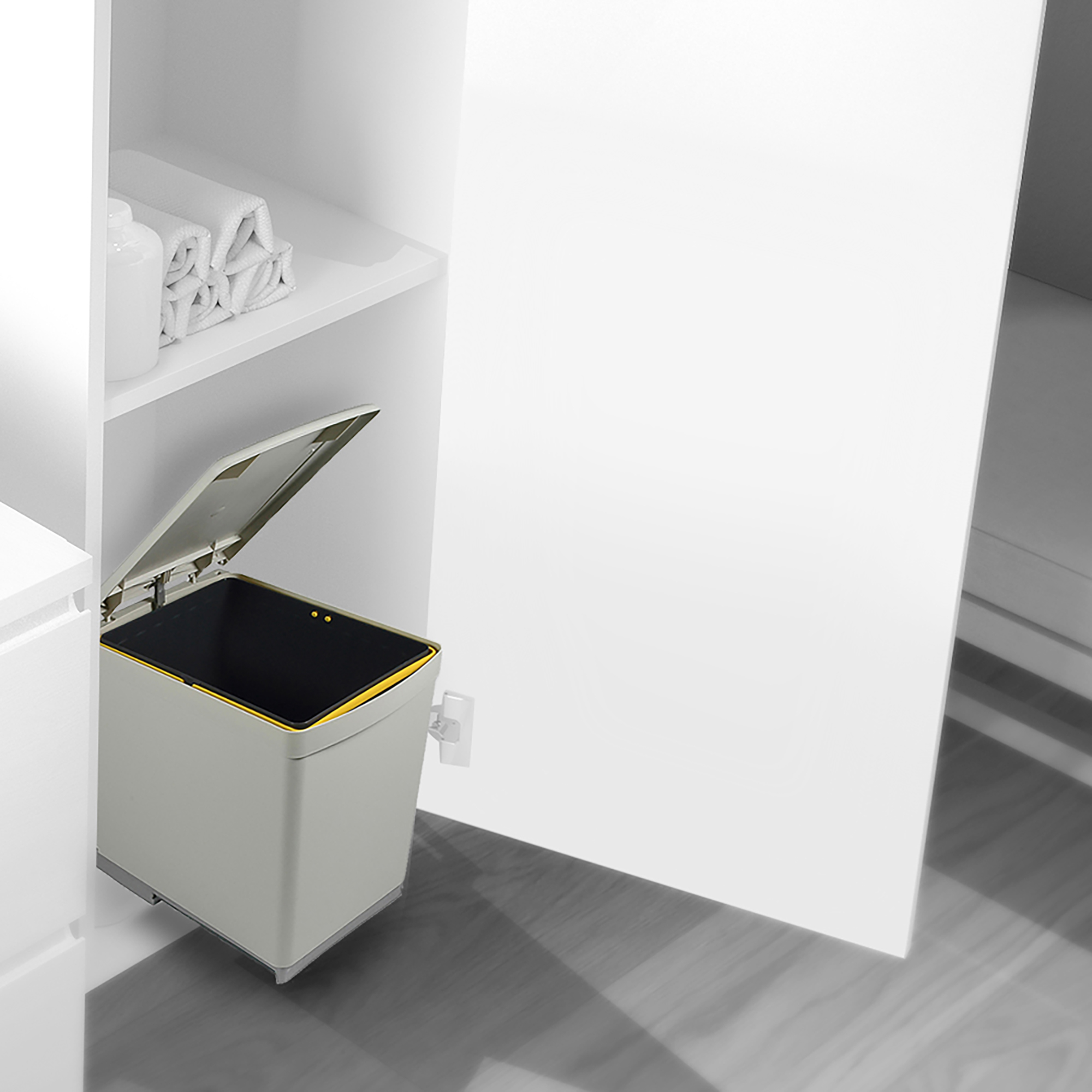 Emuca Pattumiera per differenziata, 16L, fissaggio inferiore, estrazione manuale, coperchio apertura automatica, Plastica, Grigi