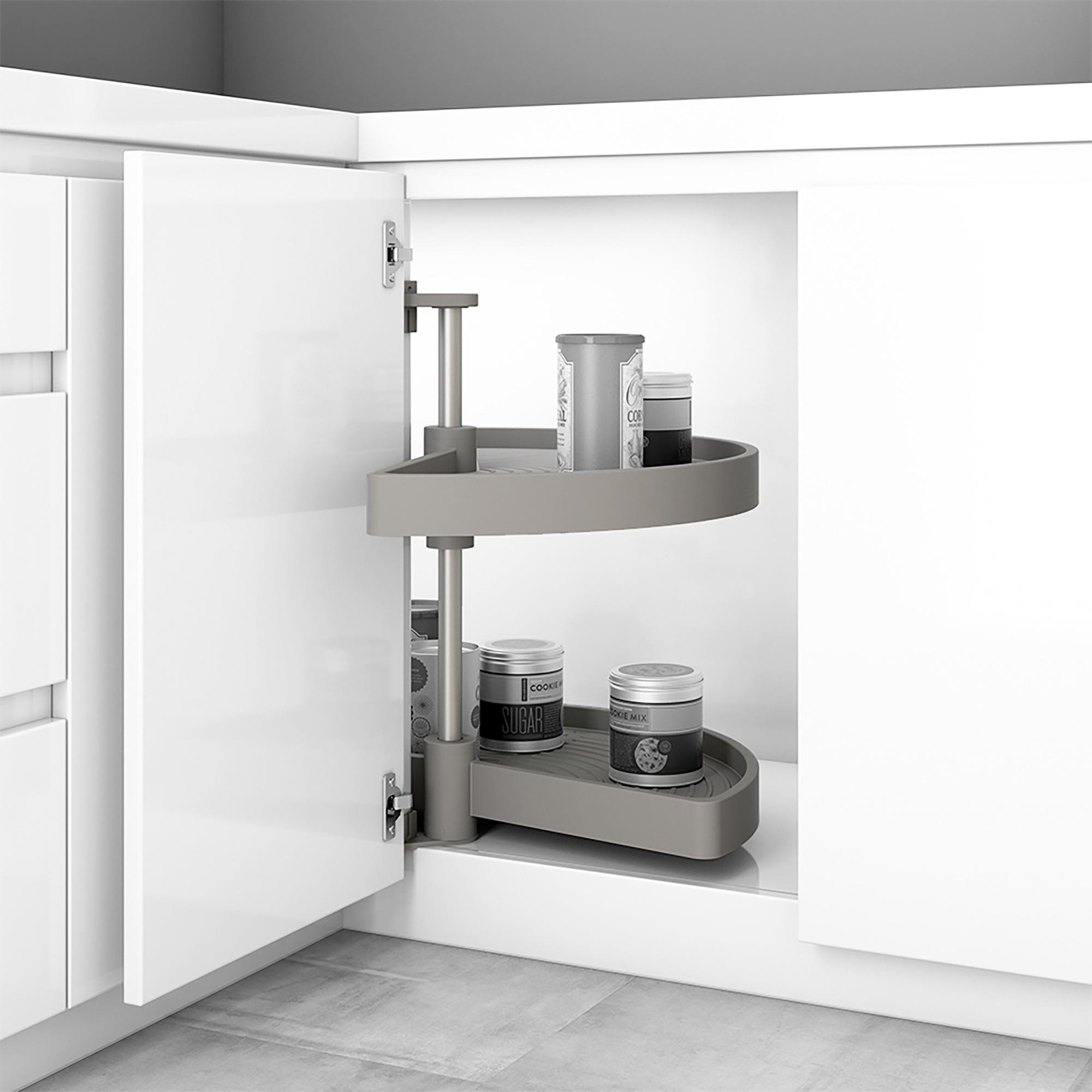 Emuca Cestello girevole per mobile da cucina, 180º, modulo 800 mm, Plastica, Grigio