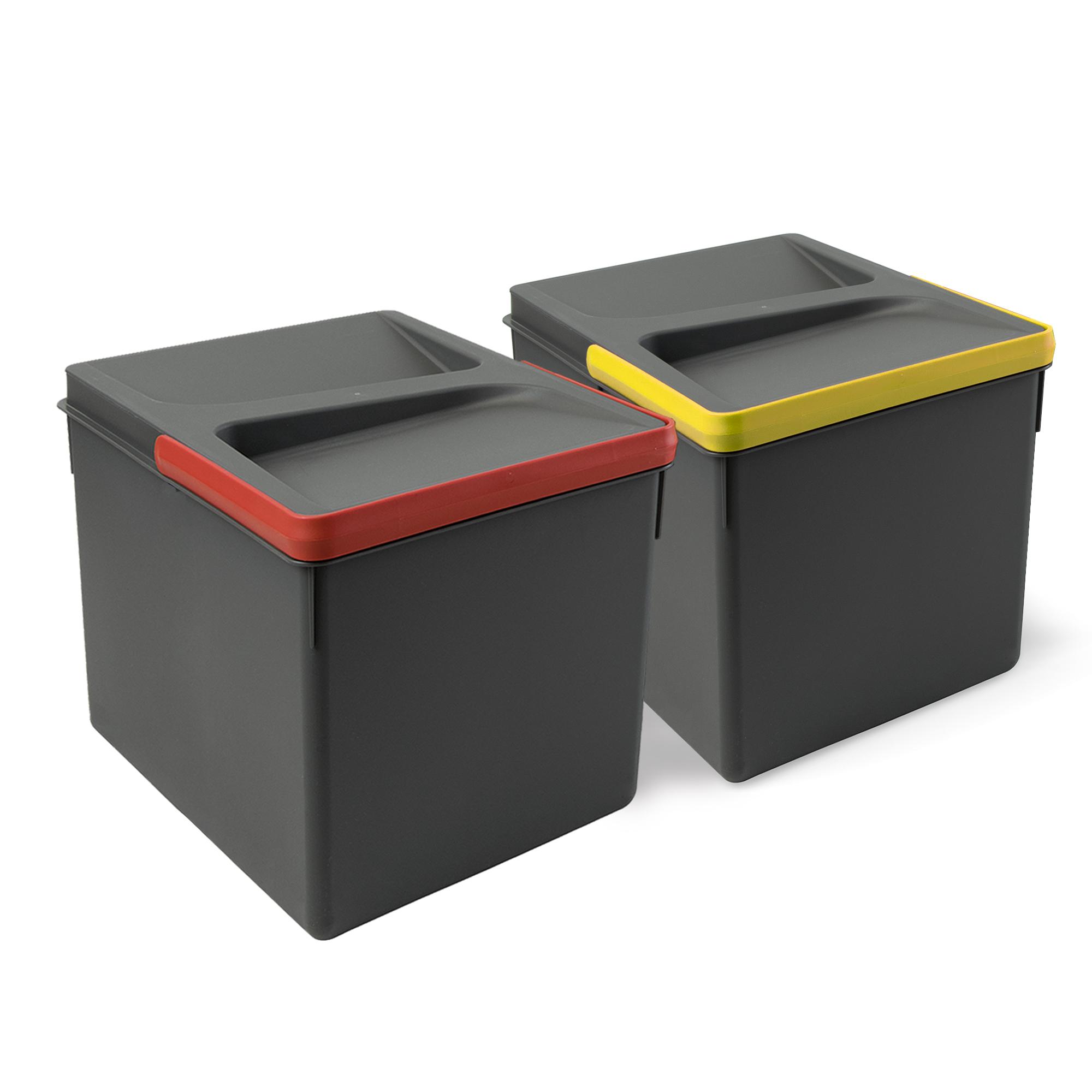 Emuca Contenitori per cassetti da cucina, altezza 216 mm, 12L, Grigio antracite, 2 un.