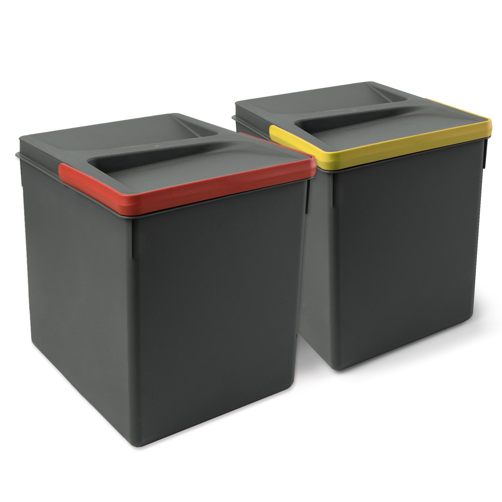 Emuca Contenitori per cassetti da cucina, altezza 266 mm, 15L, Grigio antracite, 2 un.