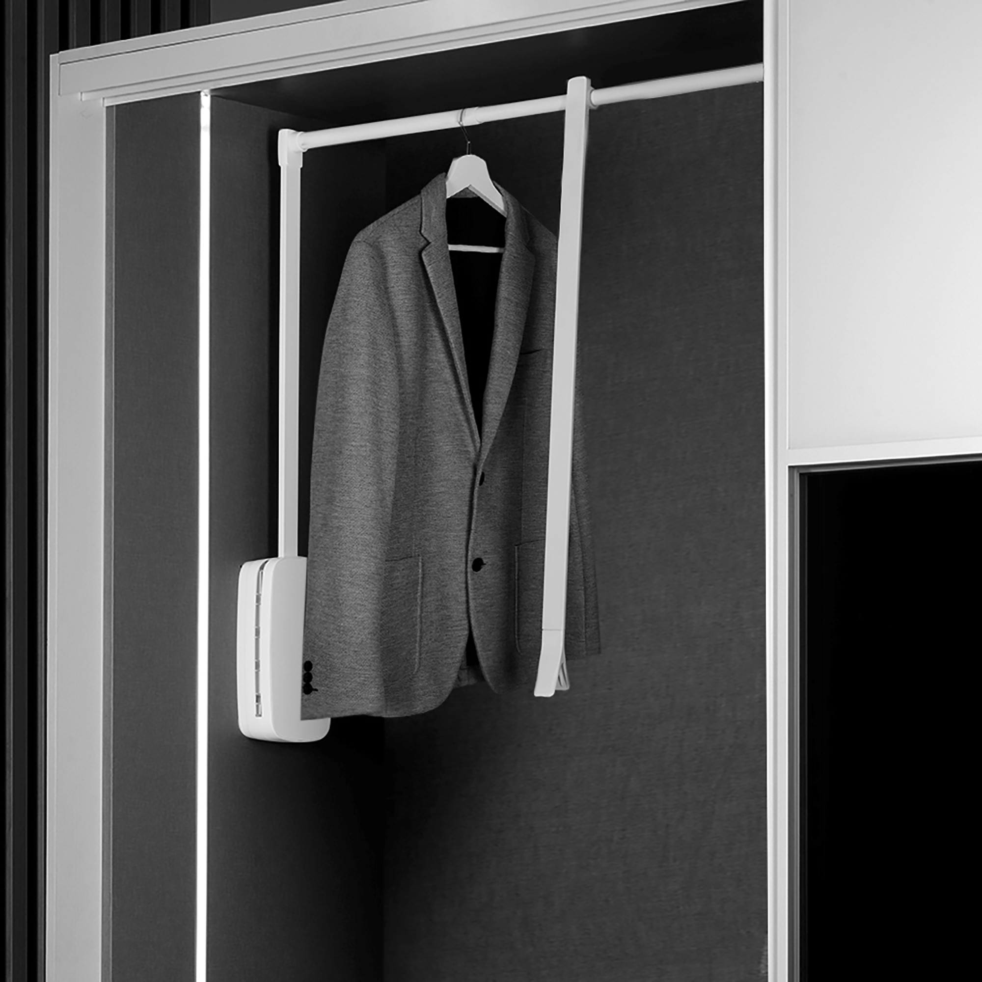 Emuca Appendiabiti per armadio, regolabile 830-1.150 mm, fino a 12Kg, Acciaio, Bianco