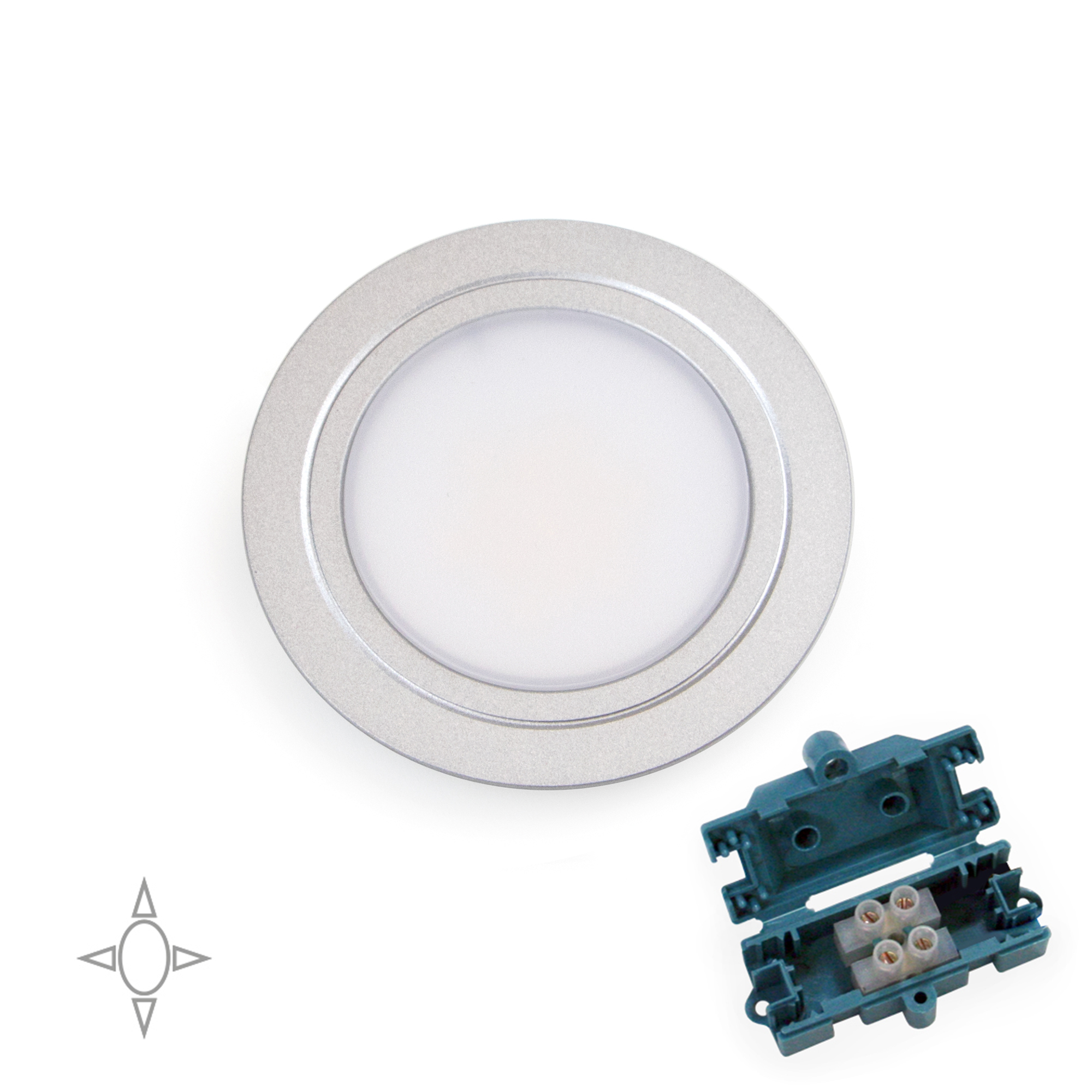 Emuca Faretto led per mobile, diametro 66 mm, a incasso, nessun convertitore necessario, luce bianca naturale, acciaio e plastic