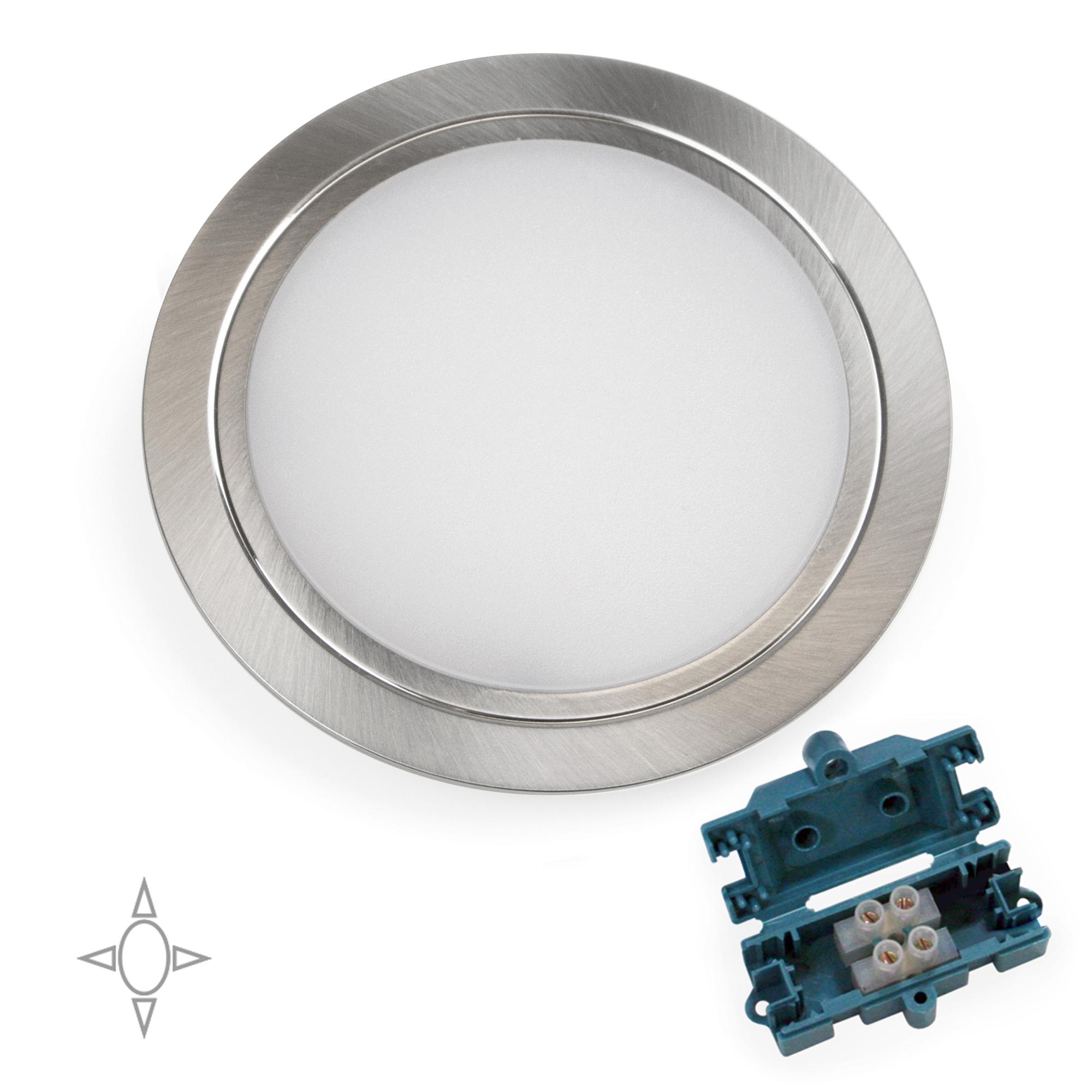 Emuca Faretto led per mobile, diametro 84 mm, a incasso, nessun convertitore necessario, luce bianca naturale, acciaio e plastic