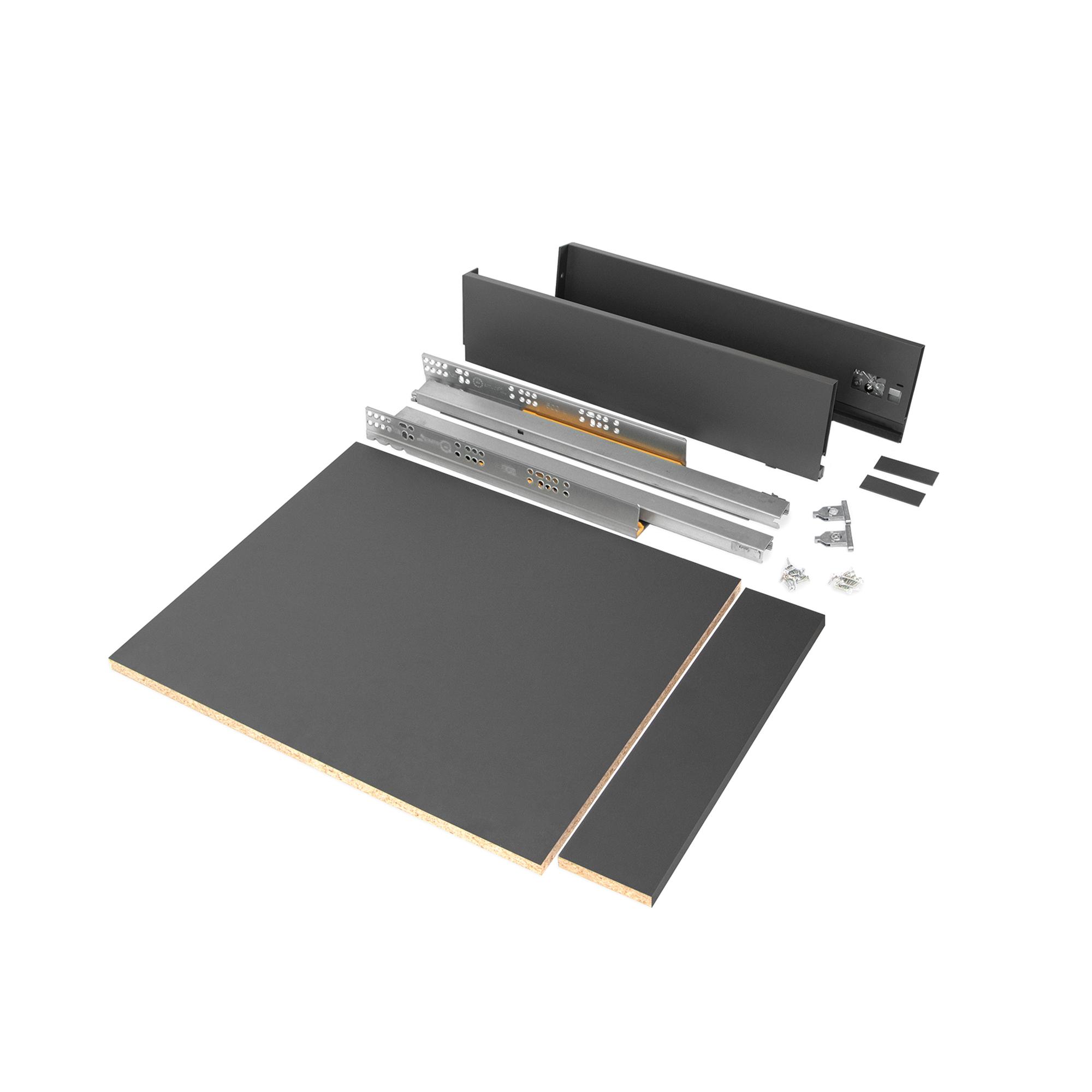 Emuca Kit cassetto per cucina o bagno con pannelli inclusi, chiusura soft, profondità 500 mm, altezza 93 mm, modulo 450 mm, Acci