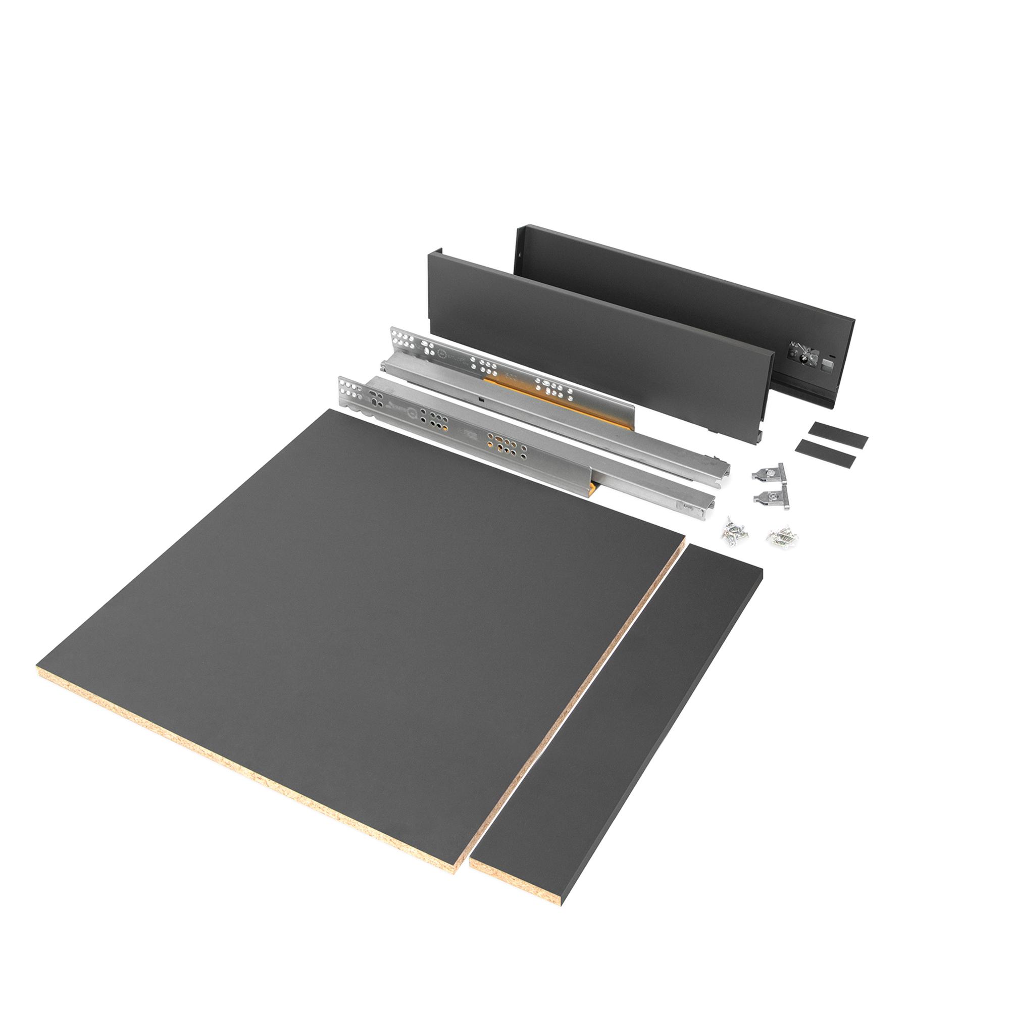Emuca Kit cassetto per cucina o bagno con pannelli inclusi, chiusura soft, profondità 500 mm, altezza 93 mm, modulo 600 mm, Acci