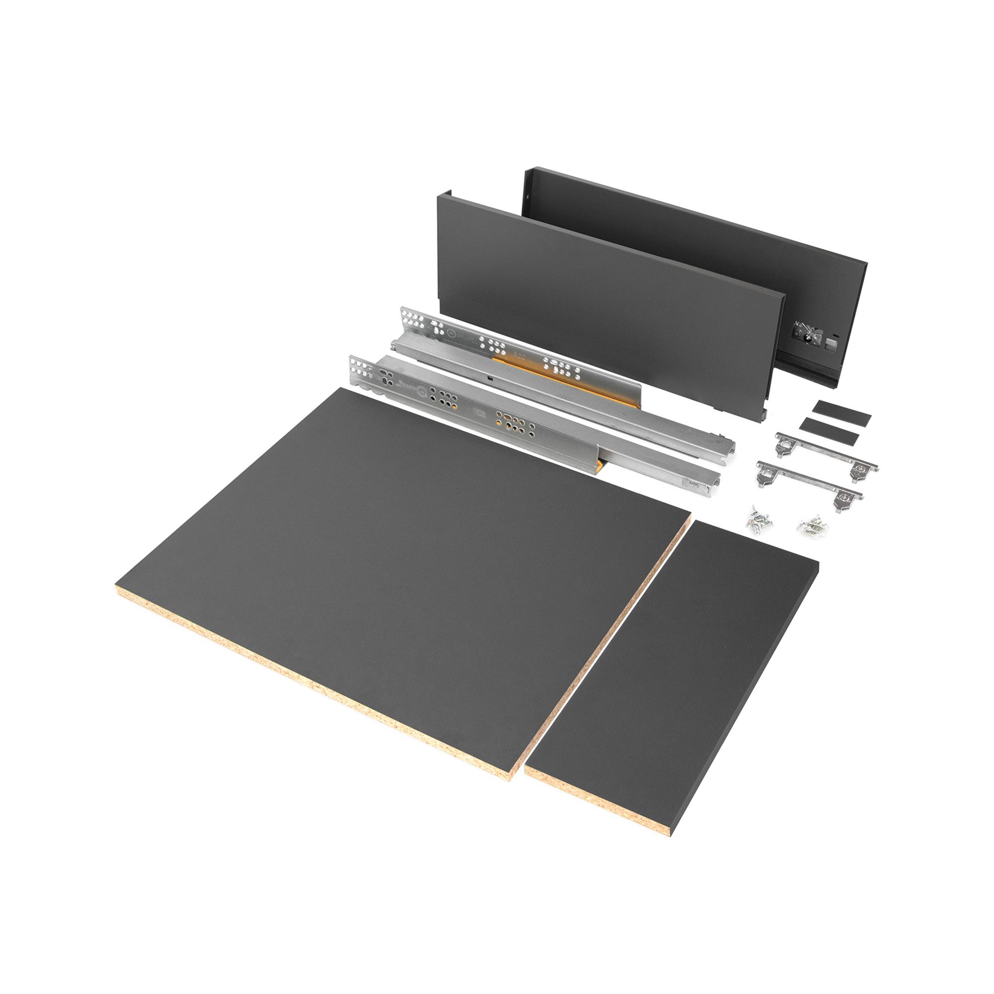 Emuca Kit cassetto per cucina o bagno con pannelli inclusi, chiusura soft, profondità 500 mm, altezza 178 mm, modulo 450 mm, Acc