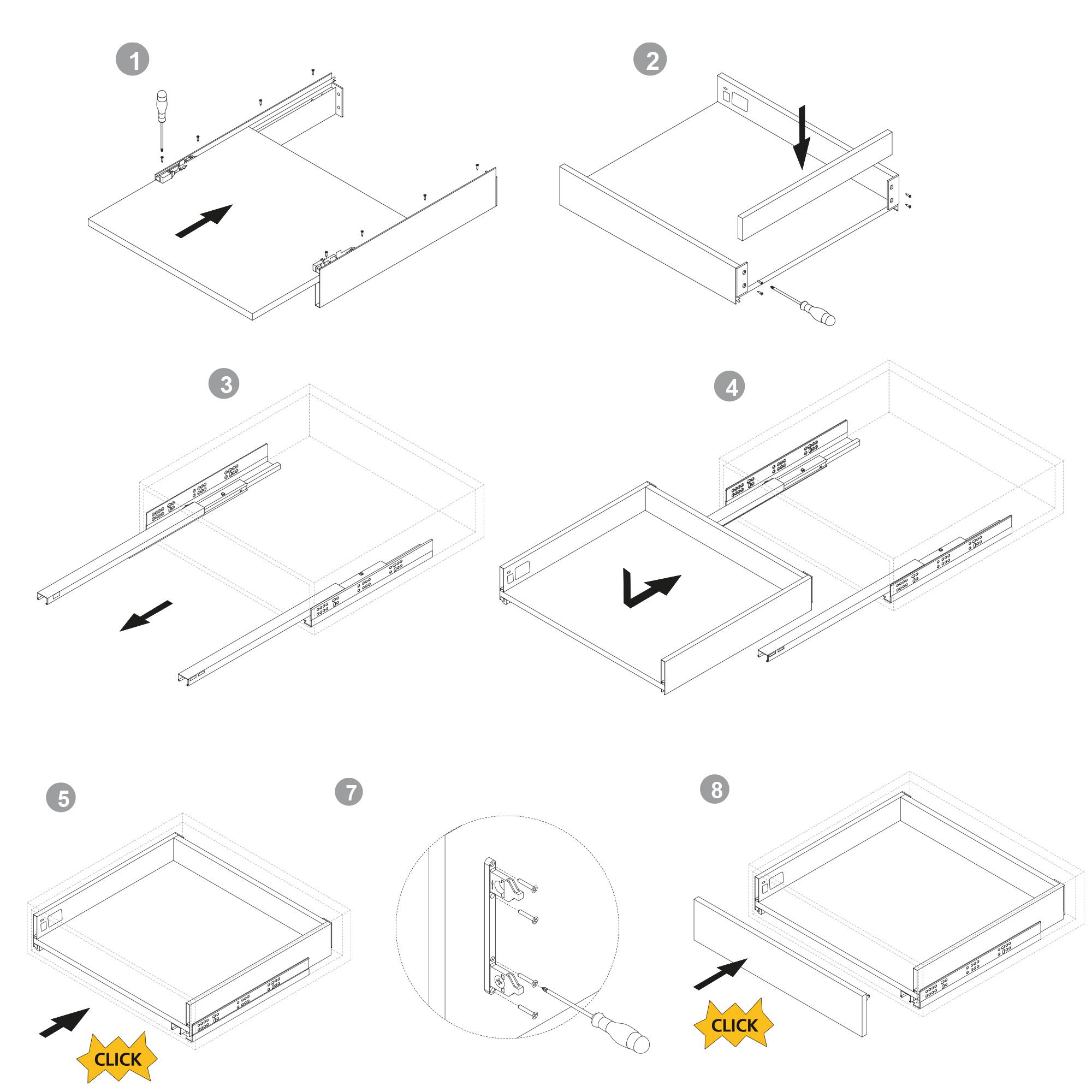 Emuca Kit cassetto per cucina o bagno con pannelli inclusi, chiusura soft, profondità 500 mm, altezza 178 mm, modulo 600 mm, Acc