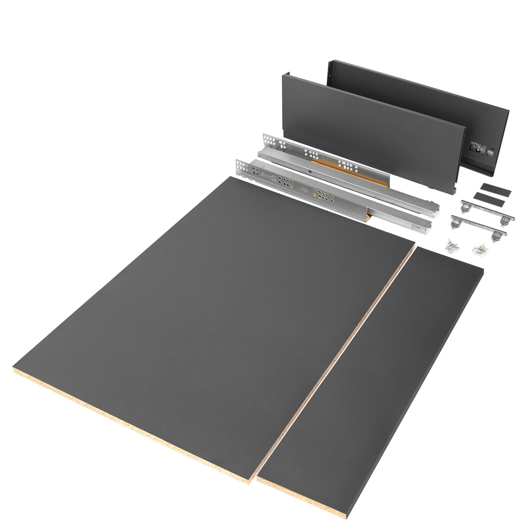 Emuca Kit cassetto per cucina o bagno con pannelli inclusi, chiusura soft, profondità 500 mm, altezza 178 mm, modulo 900 mm, Acc