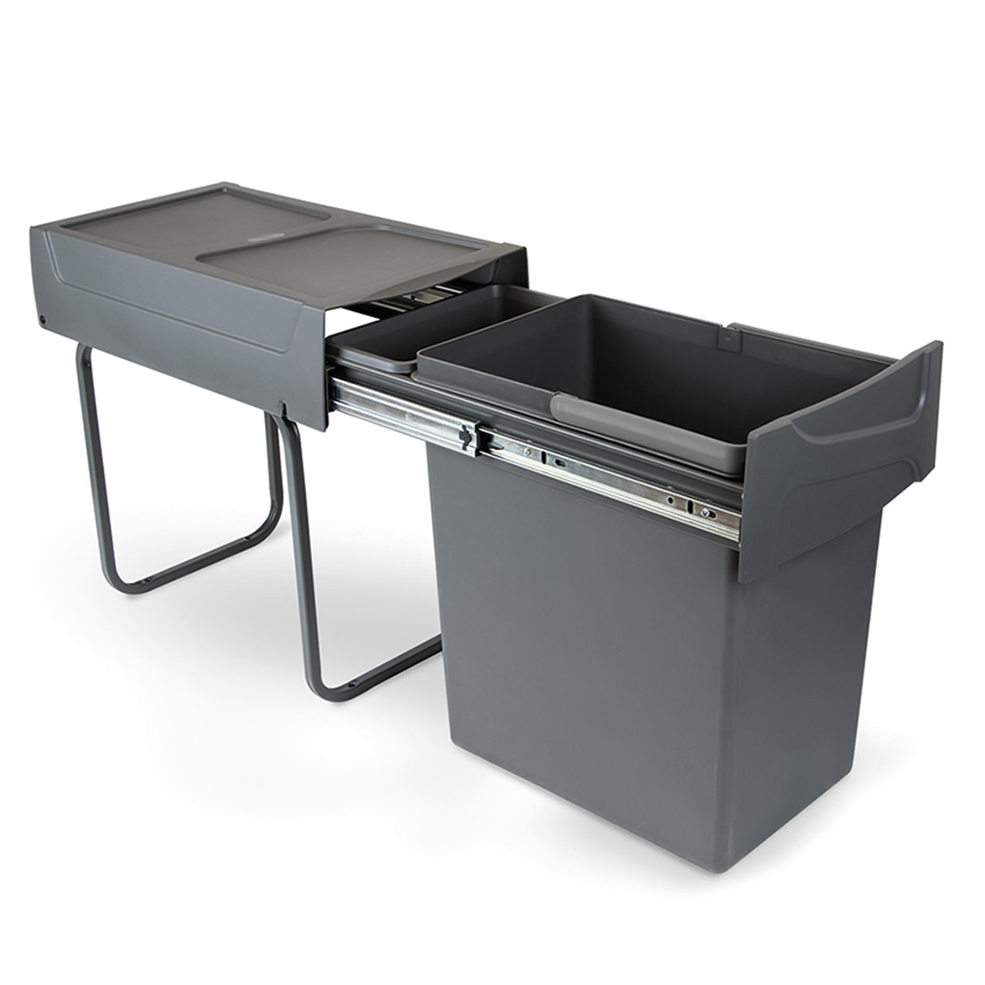 Emuca Pattumiera per raccolta differenziata da 20L per cucina, fissaggio inferiore, estrazione manuale, acciaio e plastica, grig