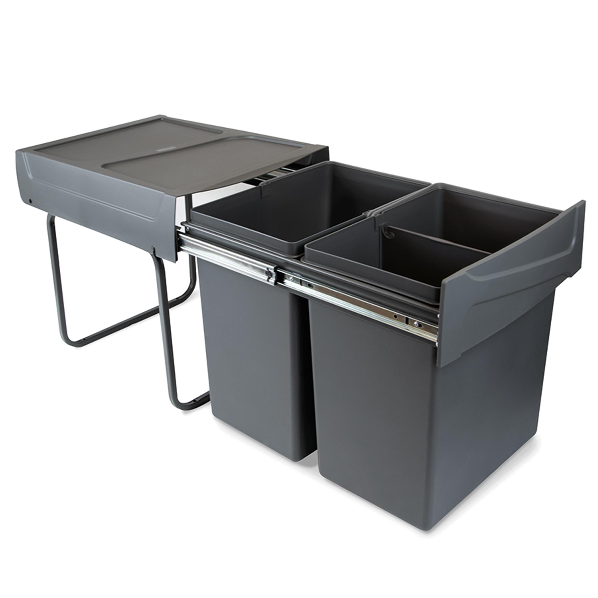 Emuca Pattumiere per raccolta differenziata per cucina, 2 x 20 L, fissaggio inferiore, estrazione manuale, acciaio e plastica, g