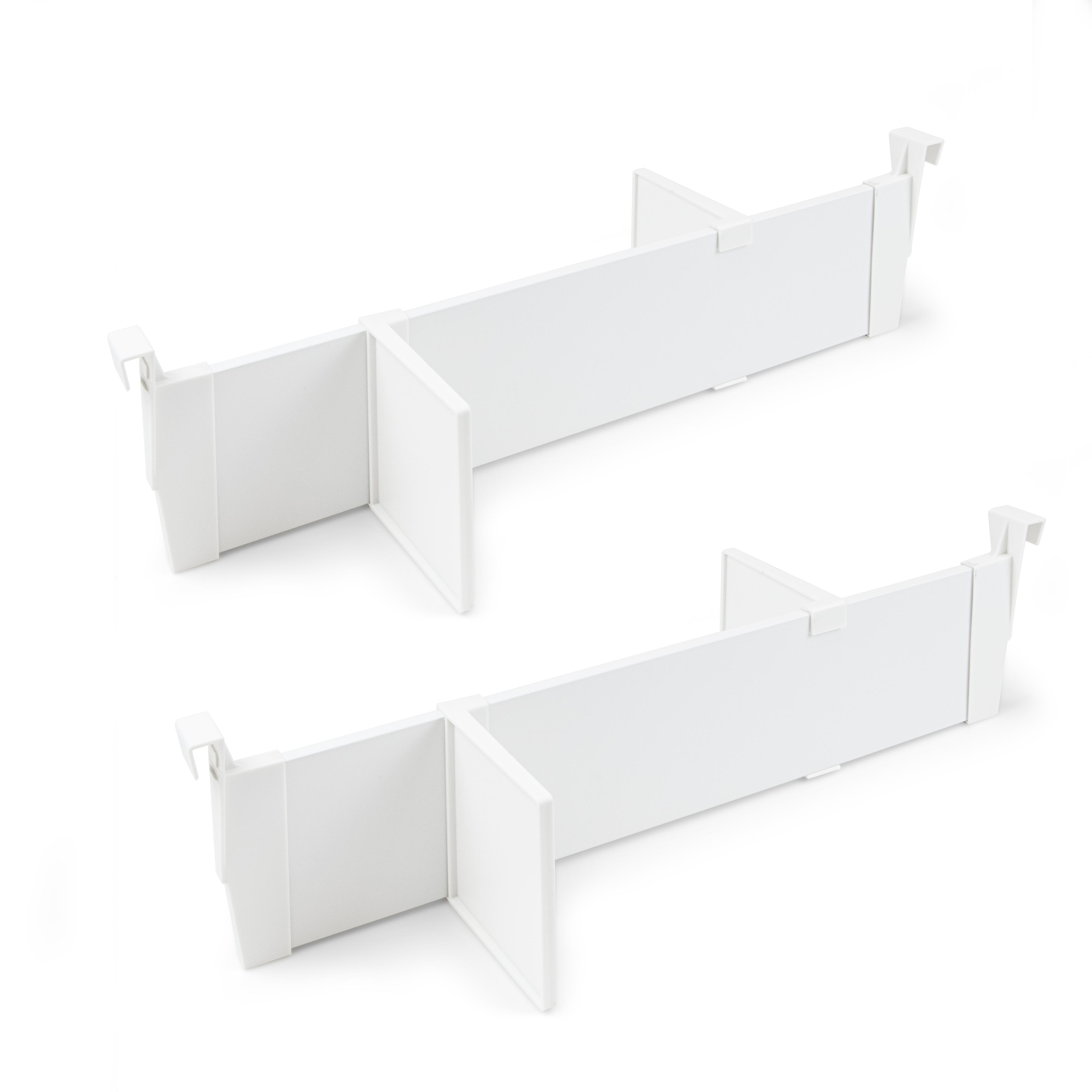 Emuca Set separatori regolabili per cassetti, accessori divisori organizer per cassetti 600mm, alluminio, bianco