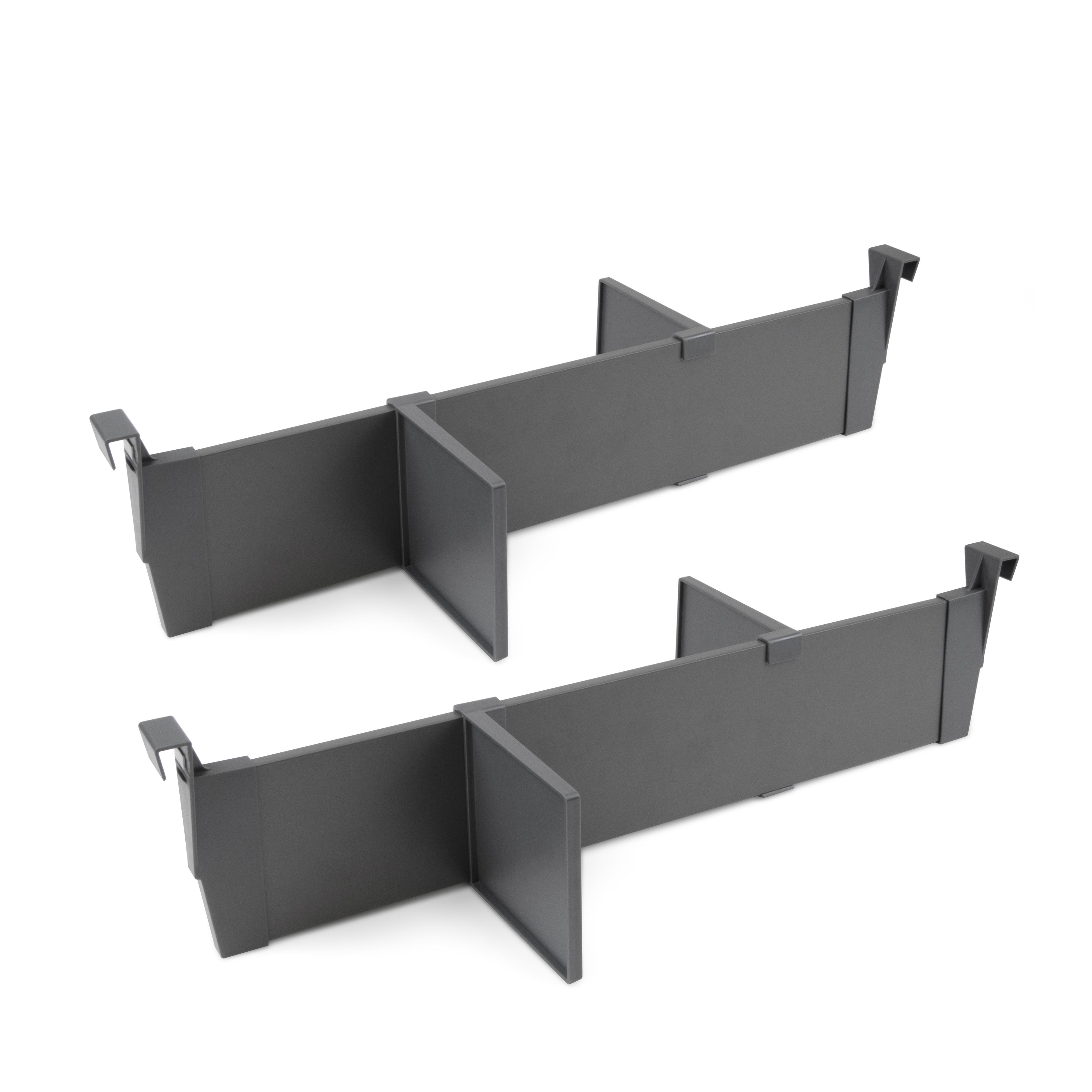 Emuca Set separatori regolabili per cassetti, accessori divisori organizer per cassetti 600mm, alluminio, grigio antracite