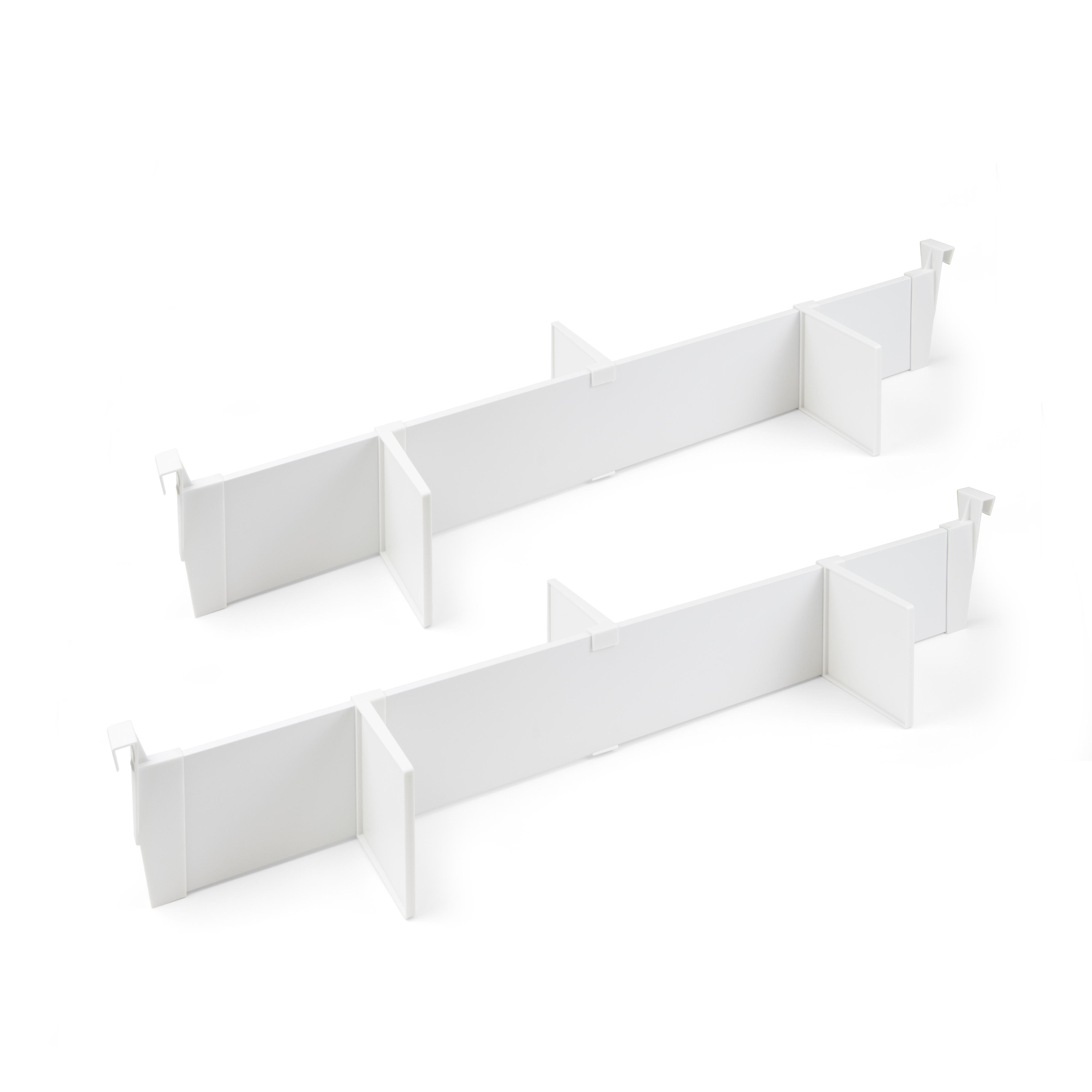 Emuca Set separatori regolabili per cassetti, accessori divisori organizer per cassetti 900mm, alluminio, bianco
